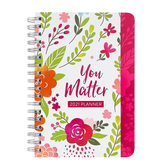 You Matter 2021 Planner, by Barbour Books, Spiral-Bound Paperback, White with Pink Floral, 240 Pages