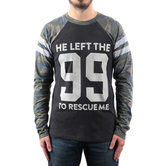 NOTW, He Left The 99 To Rescue Me, Men's Raglan Long Sleeve T-shirt, Gray/Camo, S-2XL