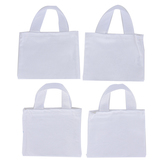 Mini Woven Tote Bags, Canvas, White, 6 x 5 Inches, Set of 4