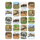 Teacher Created Resources, Safari Animals Stickers, 1 x 1 Inch, Multi-Colored, Pack of 120