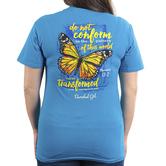 Cherished Girl, Romans 12:2 Transformed Butterfly, Women's Short Sleeved T-Shirt, Pacific Blue, S-3XL