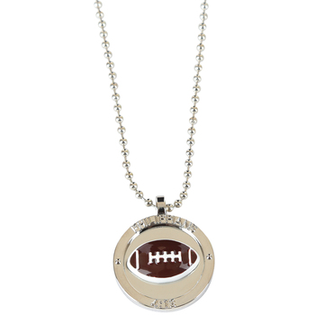Soul Anchor, Philippians 4:13 Football Necklace, Zinc Alloy and Epoxy, Silver, 22 inches