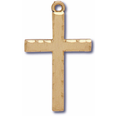 Large Gold Cross With Lords Prayer On Flip Side Pendant Necklace