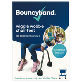 Bouncyband, Wiggle Wobble Chair Feet for School Chairs, Set of 4, Black, Fits 1.125-1.25 Inch Dia.