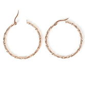 Howard's, Large Twisted Hoop Earrings, Stainless Steel, Rose Gold, 1 1/2 x 1 1/2 Inches