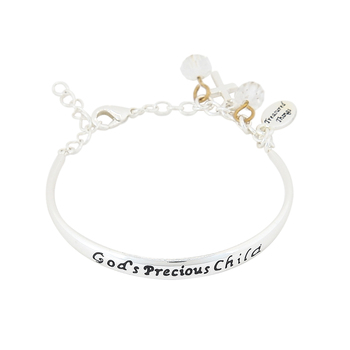 H.J. Sherman, Gods Precious Child Baby Charm Bracelet, Rhodium Plated, Silver-Tone, 1 1/2 inches