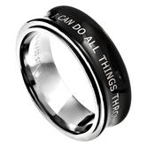 Spirit & Truth, I Can Do All Things, Men's Spinner Ring, Stainless Steel, Black, Sizes 8-12