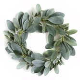 Bella Vita, Artificial Lamb's Ear Wreath, Plastic, Green, 14 Inches