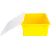 Storex, Deep Storage Tray With Clear Lid, Letter Size, Yellow, Plastic, 13 x 10.5 x 5 Inches, 2 Pieces