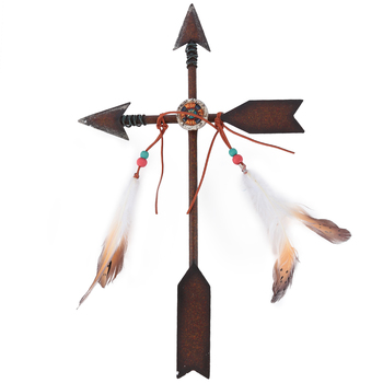 Arrow Wall Cross with Feathers, Metal, 18 x 10 3/4 inches