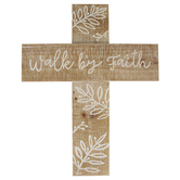 Mardel, Walk By Faith Wood Wall Cross Décor, Brown and White, 14 x 18 x 0.75 Inches