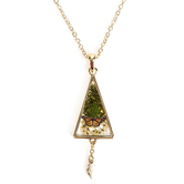 Faith in Bloom, Triangle Pendant Necklace, Zinc Alloy, Gold, 20 Inch Chain