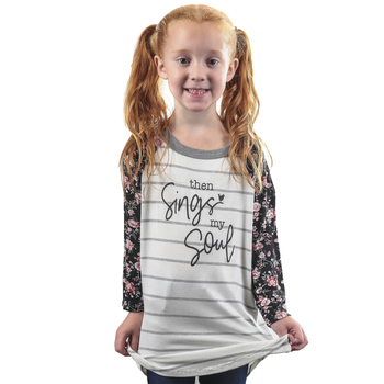 NOTW, Then Sings My Soul, Girl's Striped 3/4 Sleeve Raglan T-shirt, White and Gray, Youth X-Small-Youth Large