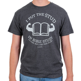Gardenfire, I Put the Stud in Bible Study, Men's Short Sleeved T-Shirt, Charcoal Heather, Large