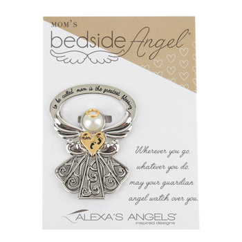 Alexa's Angels, To Be Called Mom Bedside Angel, Metal, Silver/Gold, 2 1/2 x 1 3/4 inches