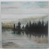 Serene Misty Lake Tinted Gel Canvas Art, 24 x 24 inches