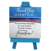 Abbey and CA Gift, Thank You For Your Service Plaque on Mini Easel, Wood, Blue, 5 x 3 1/4 x 3 inches