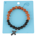 Bella Grace, Lava Beads and Cross Bracelet, Black and Brown