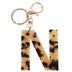N Letter Keychain, Leopard, 2 3/4 x 2 1/4 Inches