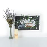 Pickup Truck with Floral Wall Decor, MDF, White and Black, 15 5/8 x 23 5/8 x 7/8 inches