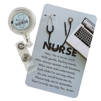 Dicksons, Retractable Badge Reel for Nurse, Blue and White, Plastic
