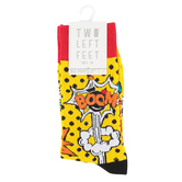 Two Left Feet Sock Co., Comic Book, Men's Crew Socks, Yellow, Red, and Black, 1 Pair