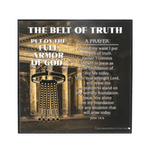 Dicksons, Ephesians 6:13-17 Armor of God Belt of Truth Plaque, MDF, 3 3/4 x 3 3/4 x 3/4 inches