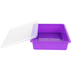 Storex, Letter Size Storage Tray With Clear Lid, Purple, Plastic, 13 x 10.5 x 3 Inches, 2 Pieces