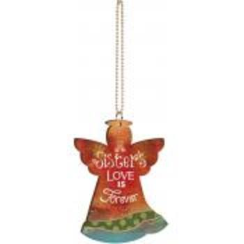 P. Graham Dunn, Sister's Love is Forever Angel Car Charm, Wood, 3 x 4 inches