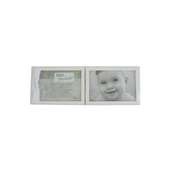 Grandparent Gift Co., First Grandchild Double Photo Frame, White, 5 x 13 inches