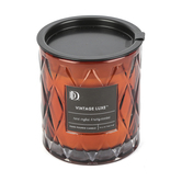 Darsee & David's, Vintage Luxe Diamond Patterned Jar Candle, Brown, 10 ounces