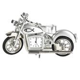 Lifelines, Motorcycle Analog Desk Clock, Zinc Alloy, Silver, 4 x 2 1/2 inches