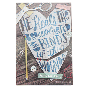 Renewing Faith, Psalm 147:3 He Heals The Brokenhearted Pass Along Cards, 2 x 3 inches, Set of 10