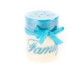 Family Pillar Candle,  3 x 4 inches, Blue and White