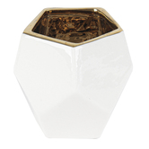 Geometric Candle Holder, Ceramic, White & Gold, 3 1/2 x 3 1/2 inches