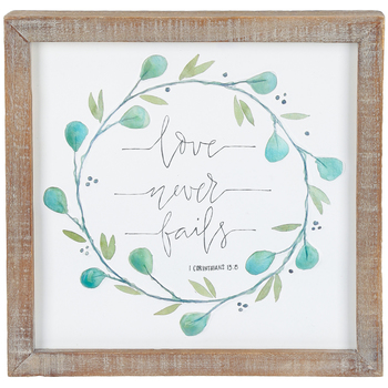 Designs Direct Creative Group, 1 Corinthians 13:8 Framed Wall Decor, MDF, 10 1/2 x 10 9/16   x 1 1/2 inches