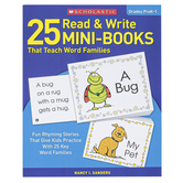 Scholastic, 25 Read and Write Mini-Books That Teach Word Families, Reproducible, 64 Pages, Grades PreK-1