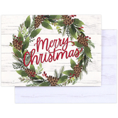 Brother & Sister Design Studio, Merry Christmas Wreath & Wood Boxed Cards, 20 Cards & Envelopes