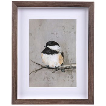 Black and White Winter Bird Framed Wall Decor, Plastic, Brown, 14 x 11 x 1 3/16 inches