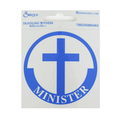 Swanson, Minister with Cross Reflective Decal, Blue & Silver, 3 inches