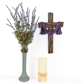 Draping Scarf Wall Cross, Resin, Brown and Purple, 13 5/8 x 8 1/4 x 1 1/4 inches