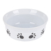 Feed Me Paw Print Dog Bowl, Ceramic, Black & White, 6 x 2 1/2 inches