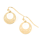 Howard's, Ear Sense, Round Lace Dangle Earrings, Gold, 5/8 Inches