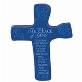 Hand Held Cross, The Peace Of God Philippians 4:7 Soft Foam Cross, Blue, 4 3/4 x 3 3/4 inches