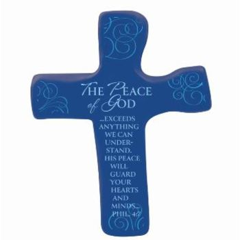 Hand Held Cross, The Peace Of God Philippians 4:7 Soft Foam Cross, Blue, 4 3/4 x 3 3/4 inches