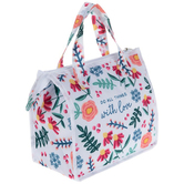 Designs Direct Creative Group, Do All Things With Love Floral Lunch Bag, 13 x 10 inches