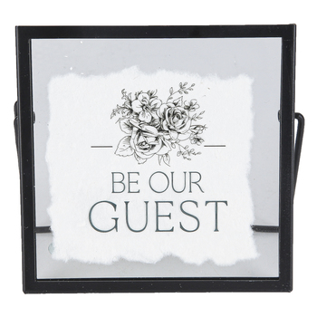 P. Graham Dunn, Be Our Guest Tabletop Decor, Glass, Paper, Metal, Black and White, 5.25 x 5.25 x 0.25 Inches
