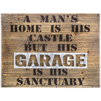 A Man's Home and Garage Wall Decor, Wood and Galvanized Metal, 11 3/4 x 15 3/4 x 1 1/4 inches