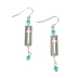Modern Grace, Romans 8:28 Cross with Beads Dangle Earrings, Silver and Turquoise