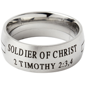 Spirit & Truth, 2 Timothy 2:3,4, Soldier of Christ, Men's Ring, Stainless Steel, Sizes 8-12